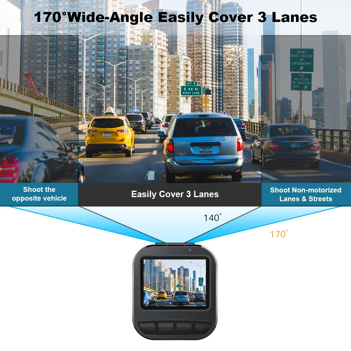 Dash Cam, CACAGOO Car Dash Cam DVR Dashboard Video Recorder Camera FHD 170 Degree Wide Angle G-sensor Motion Detection Loop Recording Parking Monitor HDR Night Vision