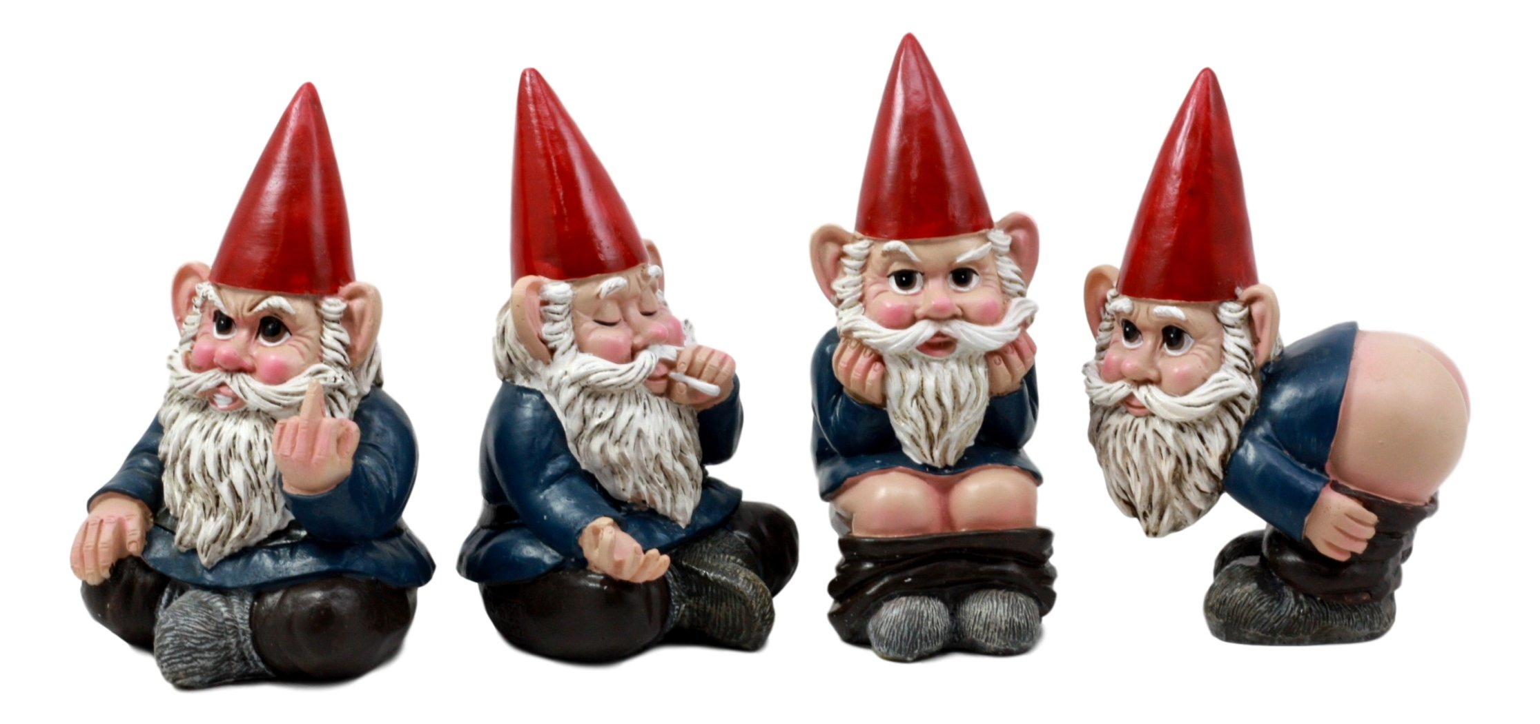 """Gnome 4: Ebros 4"""" Tall Badass Naughty Gnome Figurines Collectible"""