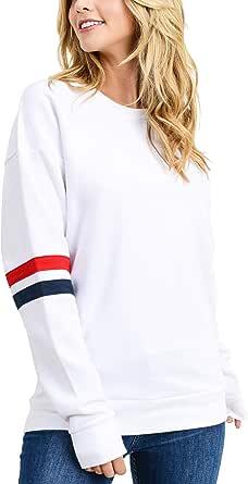 Mujer Sudaderas de Manga Larga Invierno Raya Jerséis Moda Sweatshirt Suéter Pullover Tops