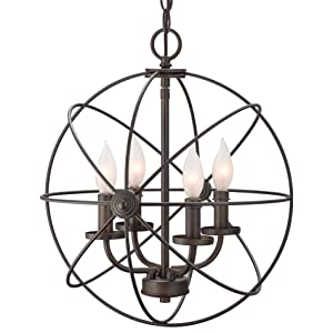 "Kira Home Orbits II 15"" 4-Light Modern Sphere/Orb Chandelier, Oil-Rubbed Bronze Finish"