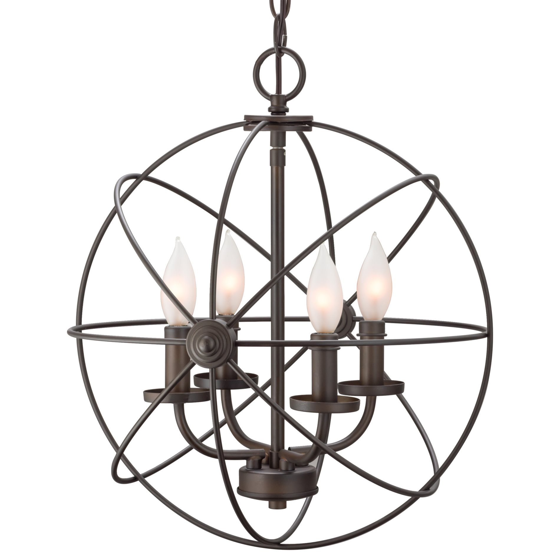 Kira Home Orbits II 15'' 4-Light Modern Sphere/Orb Chandelier, Oil-Rubbed Bronze Finish