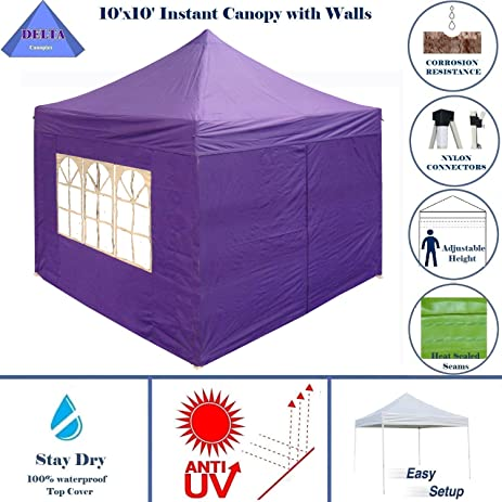 DELTA Canopies 10x10 Pop Up 4 Wall Canopy Party Tent Gazebo EZ