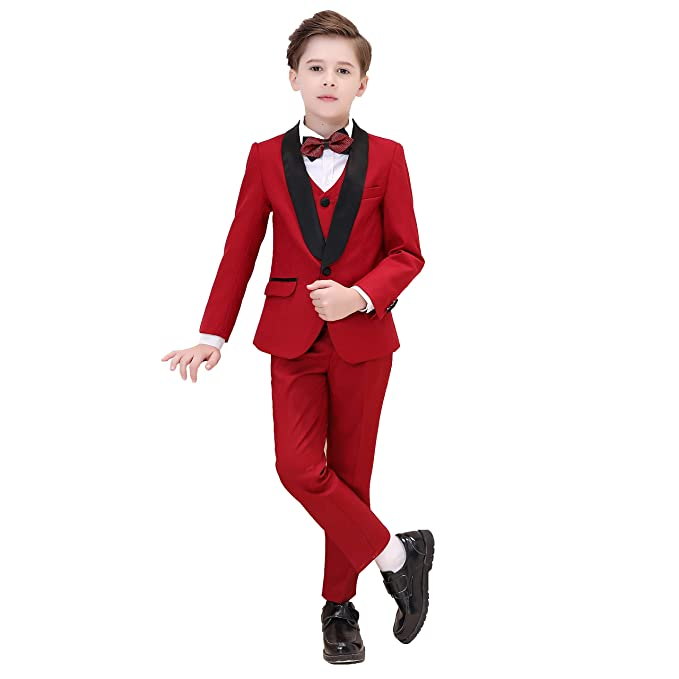 92580f249 Hibabe Boys Suits 5 Piece Formal Shawl Lapel Vested Suit with Jacket Pants  Shirt Bowtie Pants