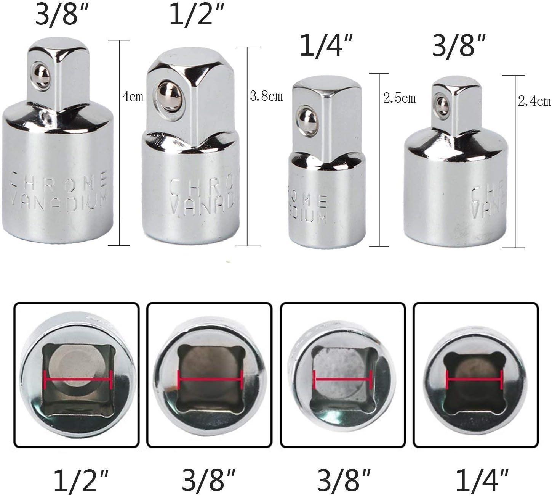 3 Pi/èces Socket Extension Adaptateur Bit Set Pour Cl/és /à Rochet//Cl/é /à Douille 1//2 3//8 1//4 Outils Socket Adaptor Converter 7PCS Set Cl/é d/écrou de forets 4 Adaptateurs R/éducteurs