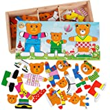 Wooden Jigsaw Puzzle Bear Family Dress up Toys for Preschool Toddlers Kids Education 54 Pieces