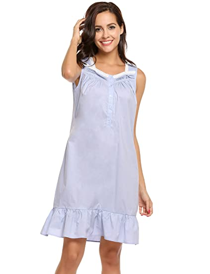 Ekouaer Womens Lawn Cotton Victorian Nightgown Button Midi Sleeveless  Sleepwear S-XXL (L d9e1d8745