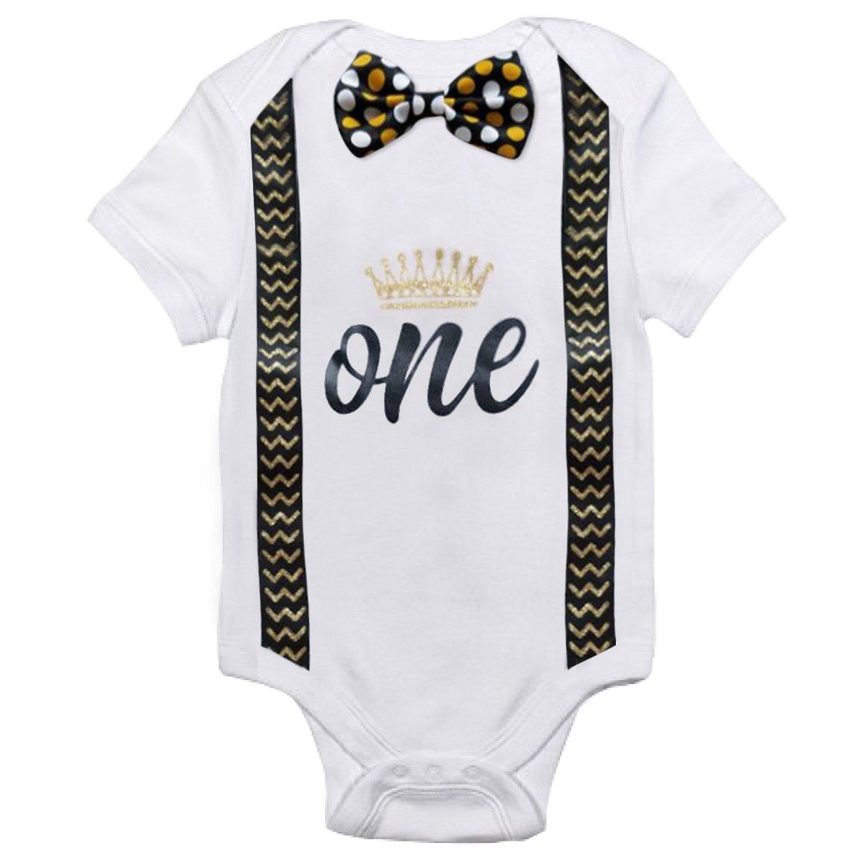 NNJXD Baby Boys' Funny First Birthday Bow Tie Infant Romper Bodysuit H00108-1