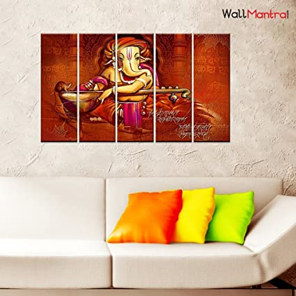 Amazon Com Wallmantra Ganesha With Veena Wall Painting 5 Pieces