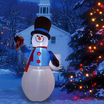 958a2545d0230f Phoenixreal 8 Foot Christmas Inflatables Snowman with Black Hat, Airblown  Inflatable Snowman with Candy Cane