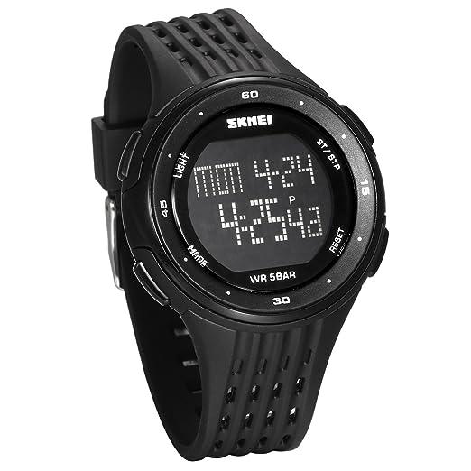 JewelryWe Reloj Digital Deportivo para Hombres, Tiempo Dual Multifunciones Negro Reloj Grande, 5ATM Impermeable Relojes para Aire Libre, Regalo para Chicos ...
