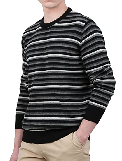 1192971b6826 uxcell Men Cotton Colorblock Long Sleeve Striped Crewneck Pullover Knit  Sweater Small Gray at Amazon Men s Clothing store