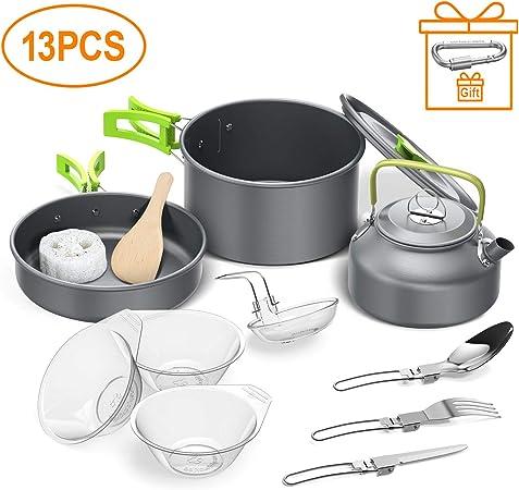 Igrome Utensilios Cocina Camping,13PCS Camping Kit de Portátil y Liviano Acero Inoxidable Ollas y Sartenes para Acampada,Excursión, ...