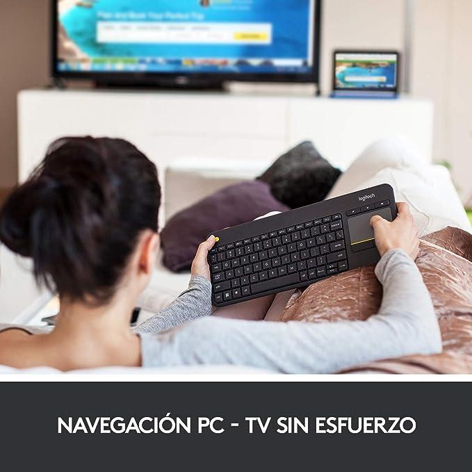 Logitech K400 Plus Teclado Inalámbrico con Touchpad para Televisores Conectados a PC, Teclas Especiales Multi-Media, Windows, Android, ...
