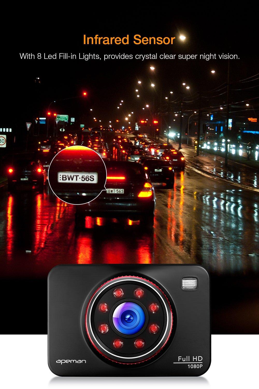 APEMAN Dashcam Cámara de Coche 1080P Full HD Gran Angulo 170°G-Sensor, Visión Infrarroja, WDR, Detección de Movimiento, GPS Grabador de Pistas: Amazon.es: ...