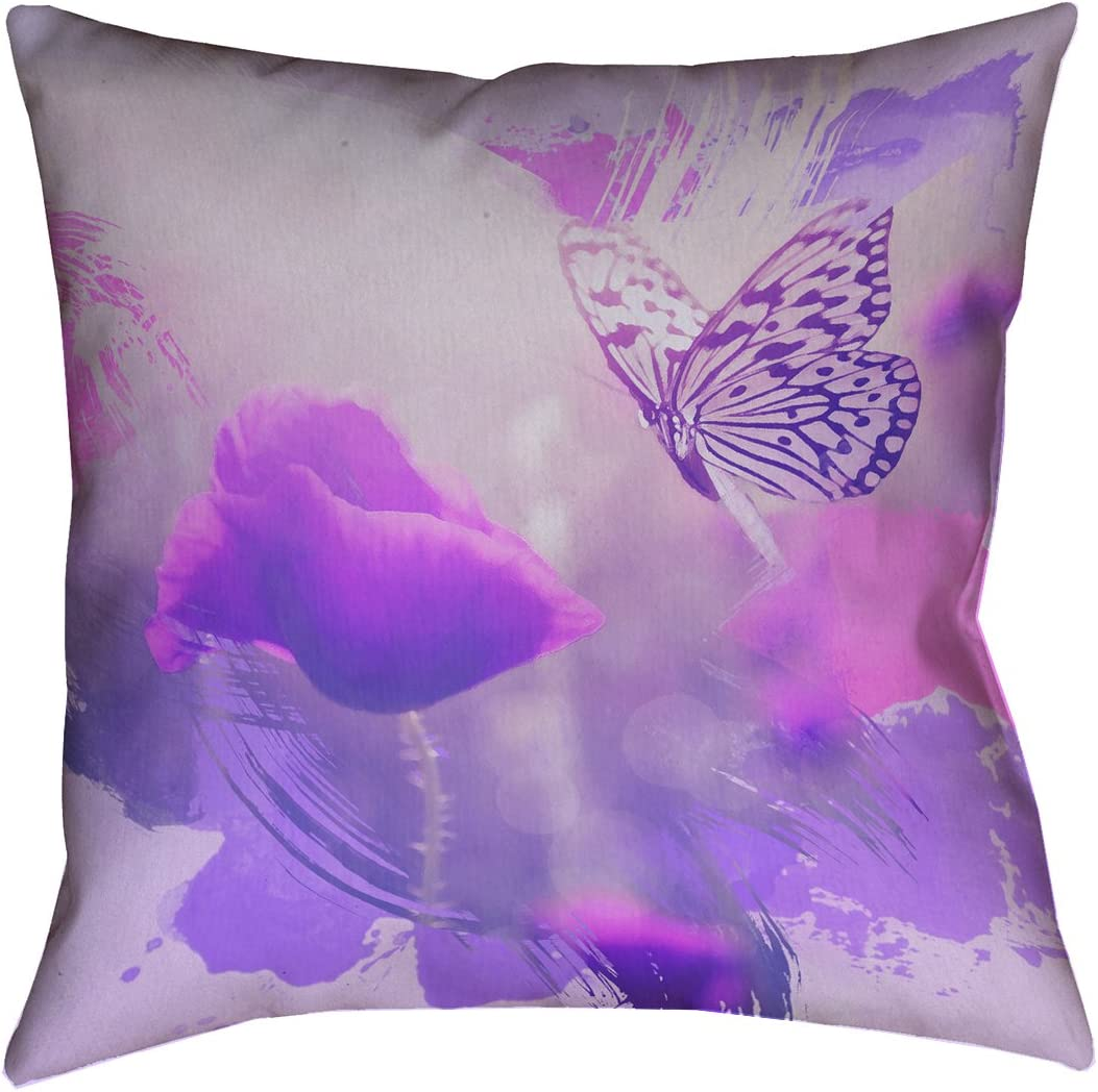 ArtVerse Justin Duane Watercolor Butterfly and Rose in Purple 14 x 14 Spun Polyester Throw Pillow