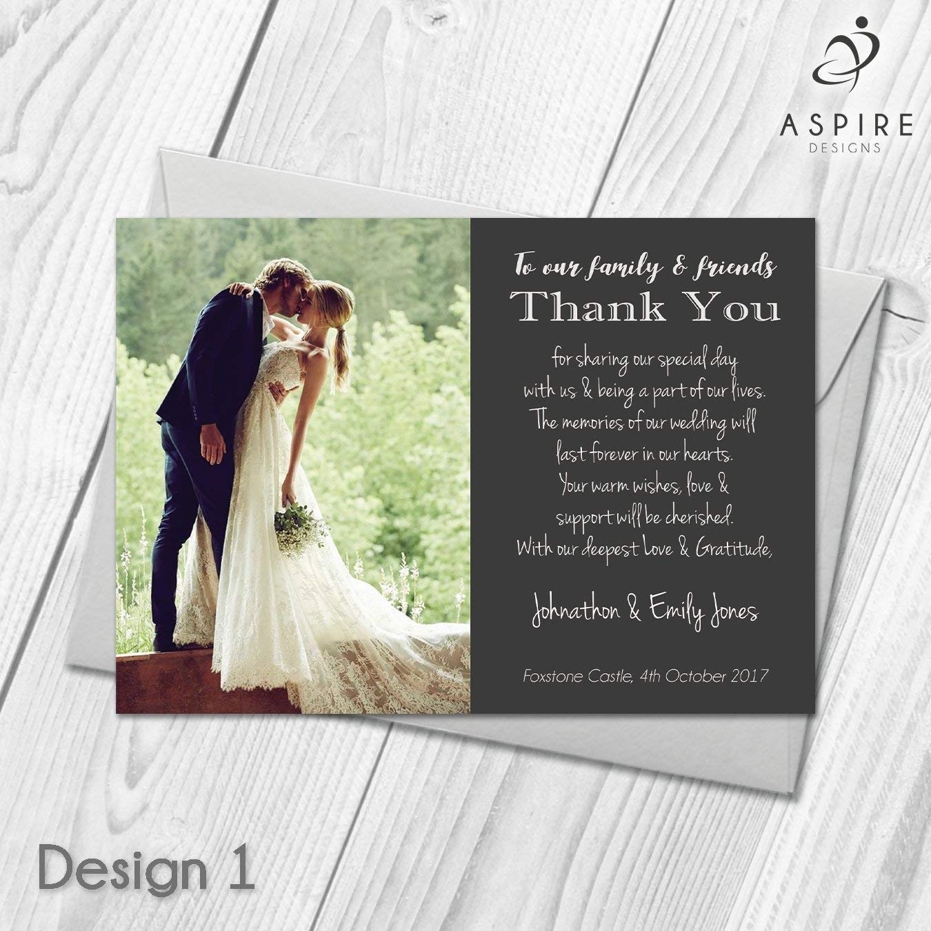 Wedding Thank You Cards Personalised With Photo Thank