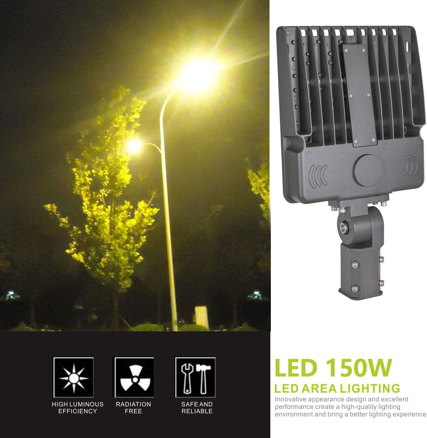 LED Parking lot Light,Super Bright LED Area Light 150W 5000K 135LM W 100-277V AC, Outdoor Shoe Box LED Flood Light and Other Commercial Street Lighting Stadium,Slip-fit, UL and DLC
