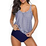Yonique Blouson Tankini Swimsuits for Women Loose Fit Floral Printed Modest Two Piece Bathing Suits