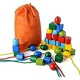 PovKeever 36 Perline per allacciatura Jumbo Perle primarie per bambini e bambine I giocattoli educativi Montessori includono 4 corde e borsa per il trasporto, Come un grande giocattolo per ragazzi e ragazze Età 3+