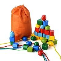 PovKeever 36 Perles de laçage Jumbo Perle de cordage primaire pour les tout-petits et les bébés Montessori Jouets éducatifs Comprend 4 cordes et sac de transport, comme un grand jouet pour les garçons et les filles 3 ans et plus