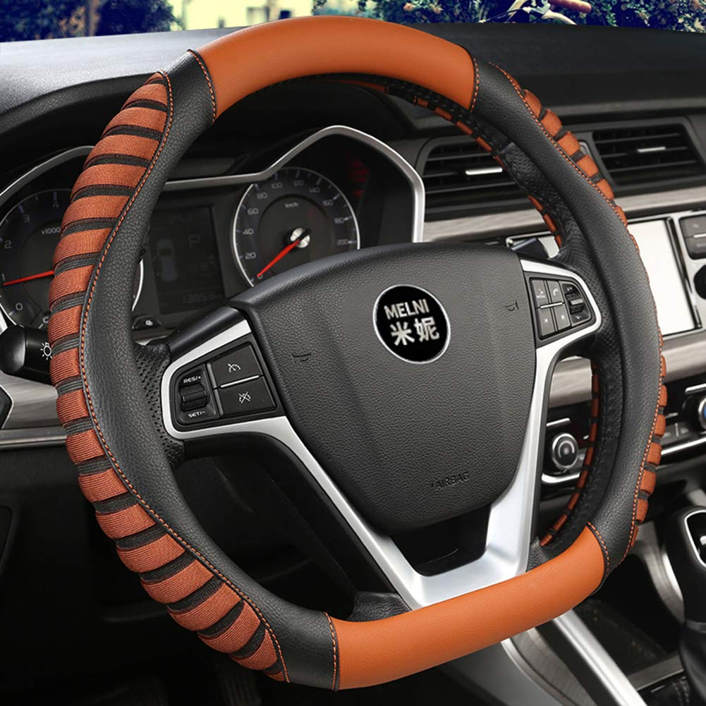 OUYAWEI Car Universal Breathable PU Leather Steering-Wheel Cover Sports Style Covers Red 38cm