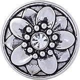Morella Damen Click-Button Druckknopf Lotusblüte silber mit weißem Zirkoniastein