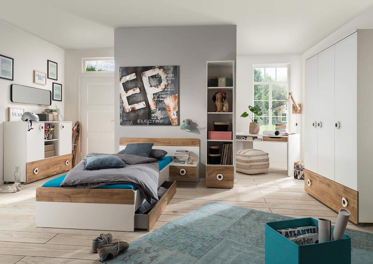 lifestyle4living Jugendzimmer Komplett-Set in weiß und Plankeneiche-Dekor, modernes Kinderzimmer für Jungen und Mädchen, 4-TLG. zeitlos