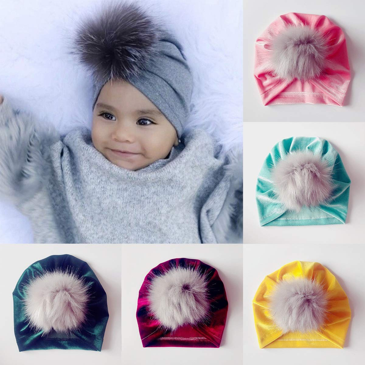 Infant Toddler Newborn Soft Stretchy Hat Winter Festival Warm Cap with Fuzzy Ball Color : Wine Red