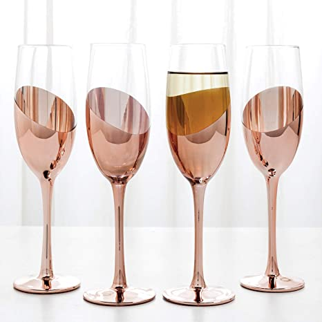 Amazon Com Mygift Modern Champagne Flute Glasses In Rose Gold Tone Finish Set Of 4 Champagne Glasses
