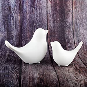 NWFashion Ceramic Animal Figurines Home Decoration Furniture Desktop Display (White Bird)