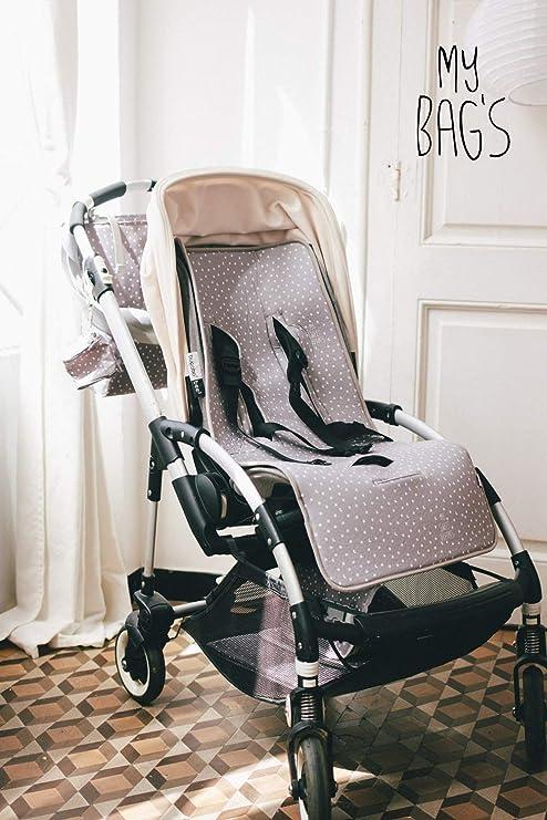 My Bags Colchoneta para Silla de Paseo Universal para Carro de Bebé con 3 o 5 Puntos de Anclaje Diseño Estampado de Topitos y Estrellitas Color Gris Microfibra Transpirable 80x35 cm: Amazon.es:
