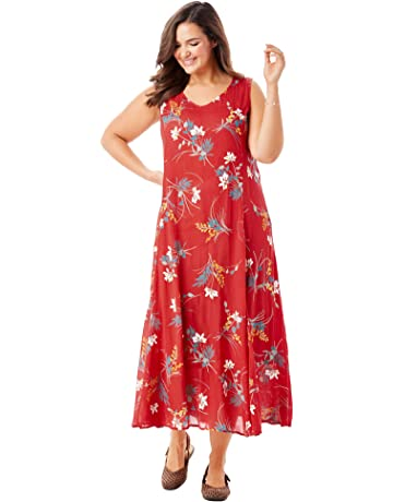 055348dc180 Woman Within Women's Plus Size Sleeveless Crinkle A-Line Dress