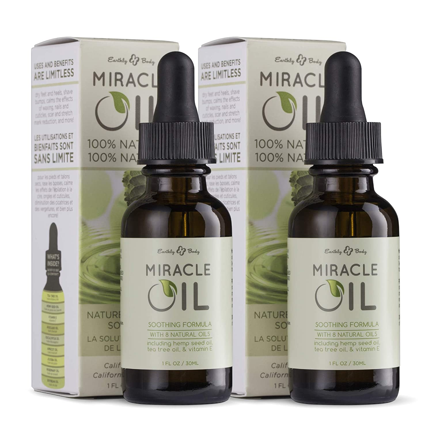 Earthly Body Miracle Oil, 1 fl. oz. - 2 Pack - 100% Natural Tea Tree Oil, Hemp Seed Oil & Vitamin E - Moisturizer, Calms Skin Irritations, Helps Smooth Wrinkles - Gluten Free, 100% Vegan : Hemp Oil : Beauty