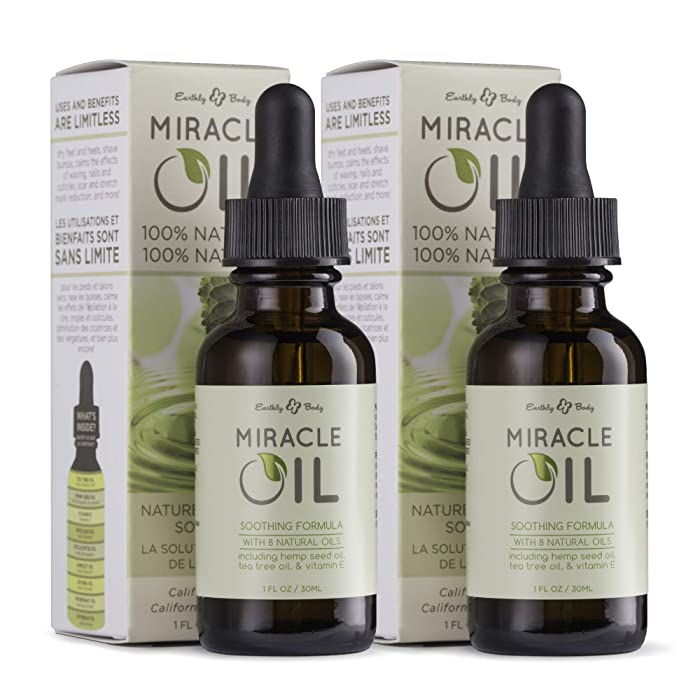 Earthly Body Miracle Oil, 1 fl. oz. - 2 Pack - 100% Natural Tea Tree Oil, Hemp Seed Oil & Vitamin E - Moisturizer, Calms Skin Irritations, Helps Smooth Wrinkles - Gluten Free, 100% Vegan