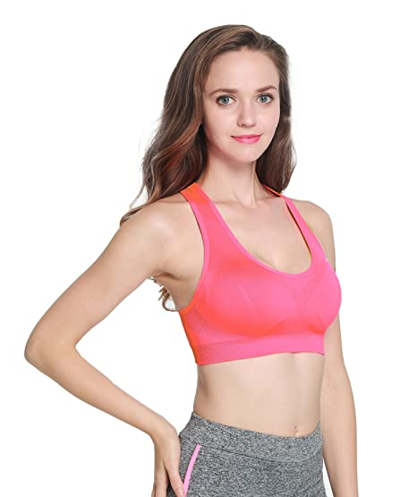 19218d75a6 MISSALOE Women s Seamless Sports Bras with Removable Cups High Impact Yoga  Bra Hot Pink Large  Amazon.in  Clothing   Accessories