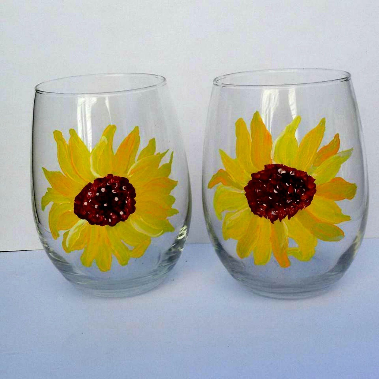 Yellow Sunflower Hand Painted Stemless Wine Glasses (Set Of 2), Floral Kitchen Decor by Atkinson Creations (Image #3)