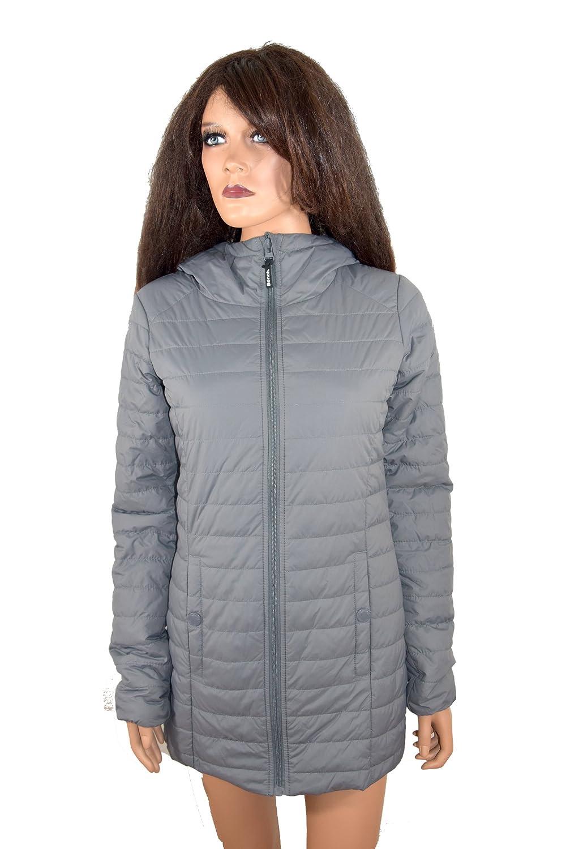 BENCH Damen Woman Mantel Steppmantel Jacke grau pink Kaputze lang *** BLOOMERS ```BLKD0026