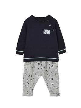 34f0b92fbeb02 VERTBAUDET Ensemble bébé garçon pull maille et pantalon molleton  Marine/gris chiné 9M - 71CM