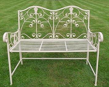 Beau Cream Wrought Iron Garden Bench~ Tia Garden Bench