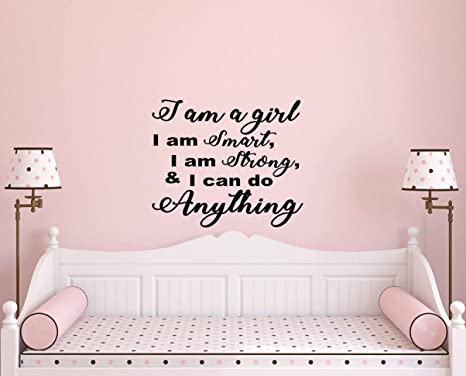 Amazon Com Best Design Amazing Girls Bedroom Ideas I Am A Girl Wall Decal Wall Decals Inspirational Wall Decal Motivational Wall Decal Quote Wall Words Wall Vinyl Decal Made In Usa Home Kitchen