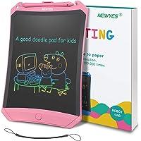 NEWYES Tablette d'Ecriture LCD Coloré Robot, 8.5 Pouces de Longueur, Différentes Couleurs(Rose et Lignes colorées)