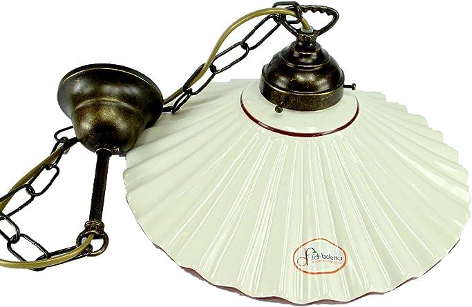 Lámpara de techo latón con acabado pulido, con cadena Plato de ...