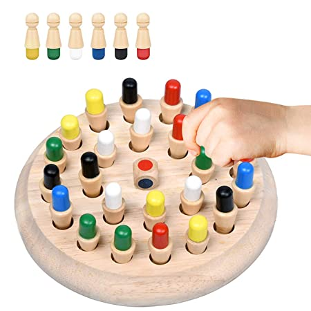 MagiDeal Wooden Memory Chess Kids Baby Color Memory Training Educational Toy