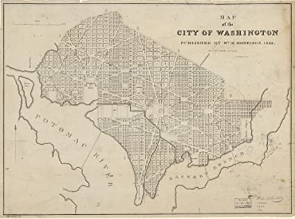 Amazoncom Vintage 1840 Map Of Map Of The City Of Washington United - Us-map-1840