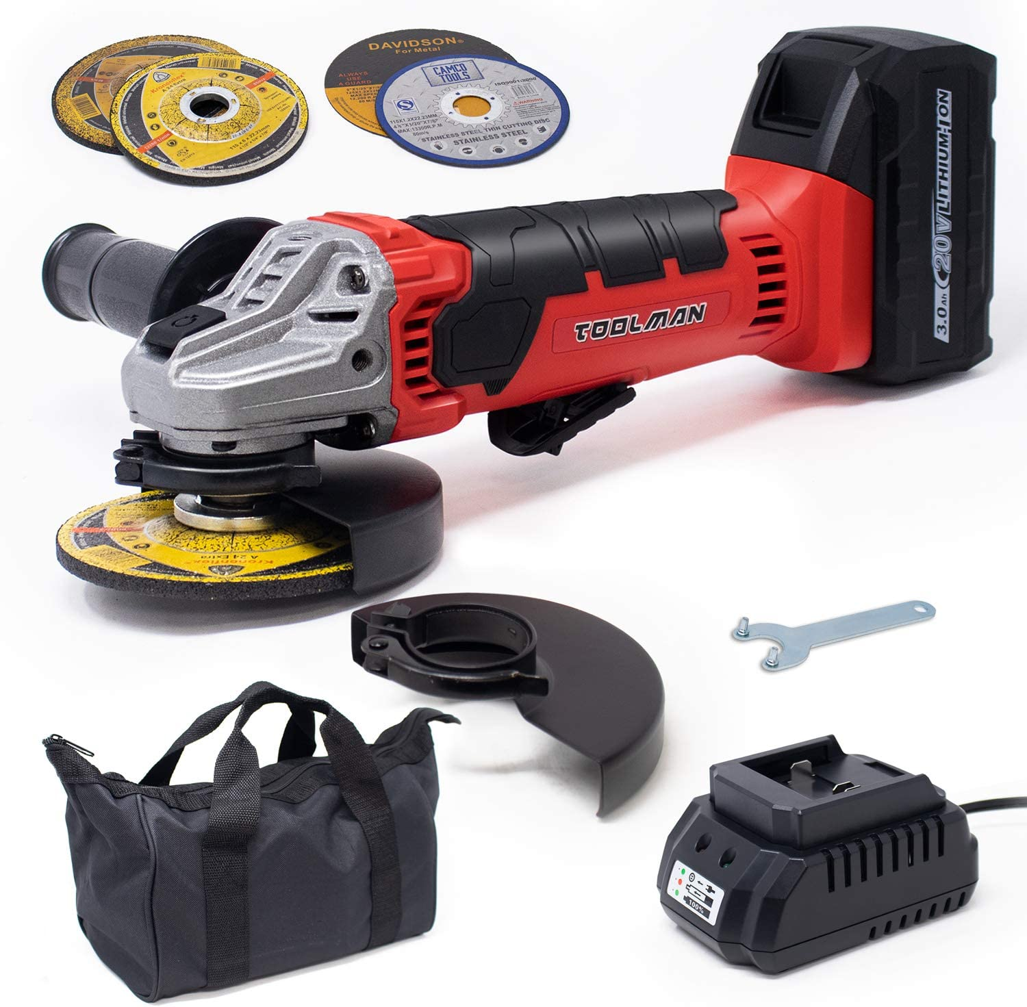 8PC Toolman Cordless Angle Grinder 20V 4-1//2//5 Pad Brushless Battery Included ZTP019