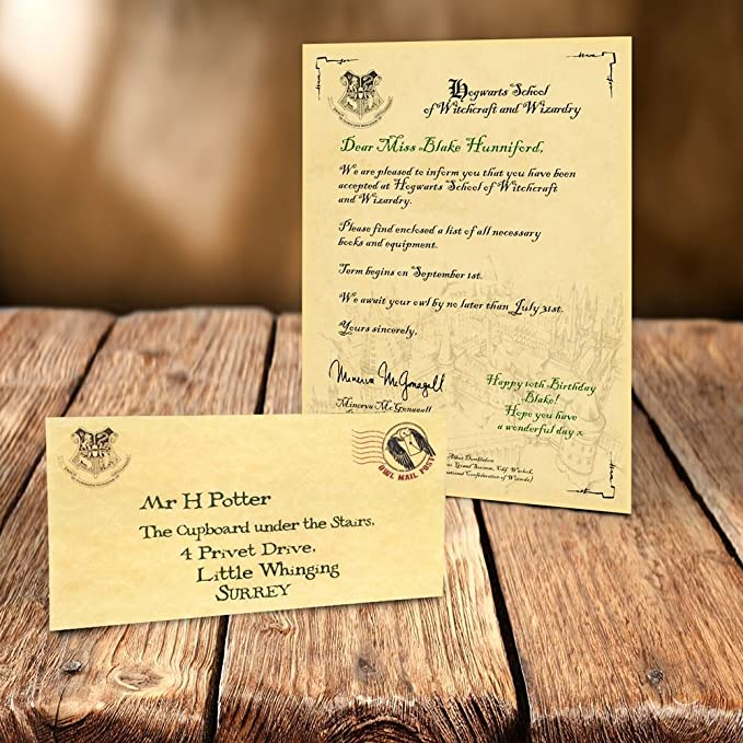 Personalisiert Harry Potter Annahme Brief Hogwarts