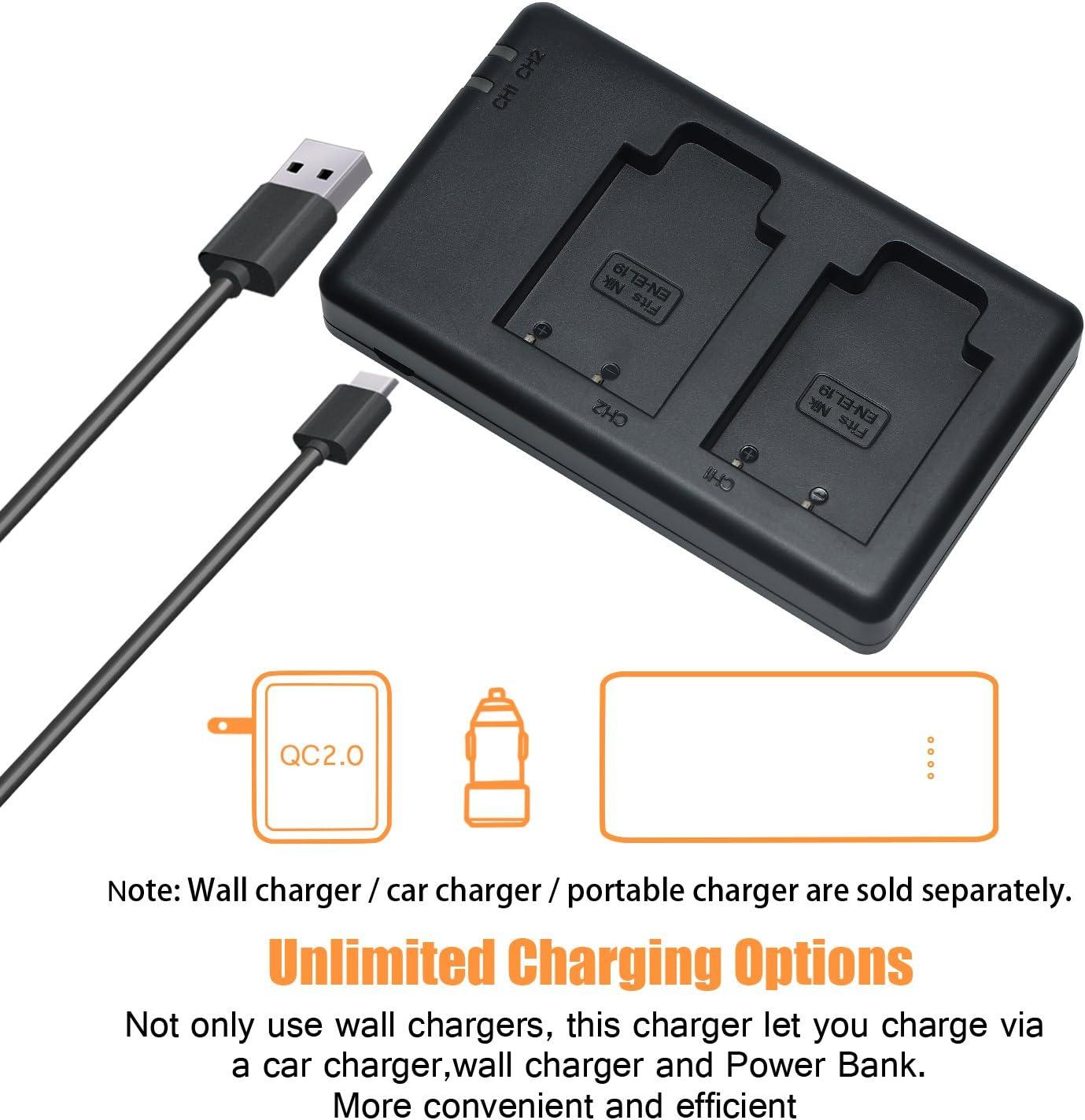 DSTE Fast Charging USB Dual Batterie Chargeur Compatible pour Nikon EN-EL19,Sony NP-BJ1,Nikon Coolpix S100,S2500,S2600,S2700,S2750,S3100,S3300,S4200,S4300,S6400,Sony DSC-RX0,RX0/II DSC-RX0M2