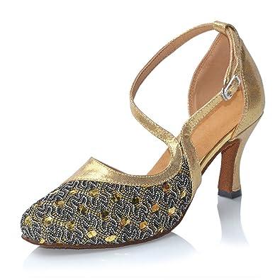 6d1a3a04919 Misu Women s Closed Toe Suede Sole Latin Salsa Tango Practice Ballroom Dance  Shoes with 2.75 quot