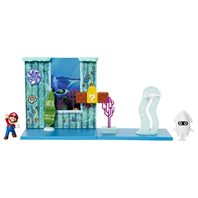 "Nintendo Super Mario Underwater Playset with Interactive Enviromentpiece, 2.5"" Articulated Mario Figure & Blooper Squid Figure - Collect & Create Your Mario World!, 400182: Toys & Games"