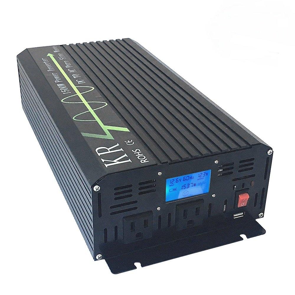 KRXNY Car Power Inverter Full Power 1500W Peak 3000W 12V DC to 110V 120V AC 60HZ Off Grid Pure Sine Wave Converter with USB Port LCD Display